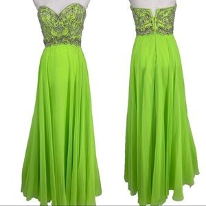 Night Moves neon green beaded bodice evening gown